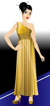 Ilustración de vector de mujer asiática en alfombra real con vestido de oro y joyas de diamantes.