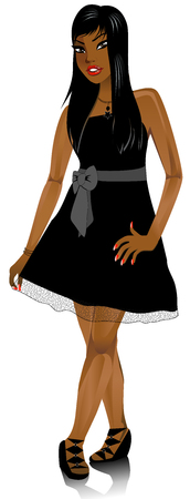 Vector Illustration of Mixed woman with black Bow dress.