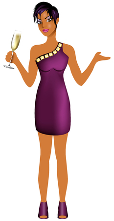 Vector Illustration of Black woman with purple dress and champagne.