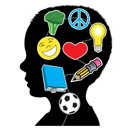 Ilustración vectorial de un niño con elementos de mente sana. Gran salud mental.