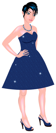 Vector Illustration of white woman with blue sparkle dress and blue heels.