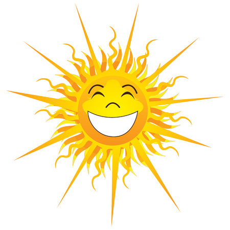 Vector Illustration of Happy Sunshine Isolated.