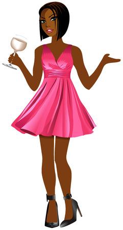 Ilustración de vector de mujer con vestido rosa y vino blanco. Ilustración de vector