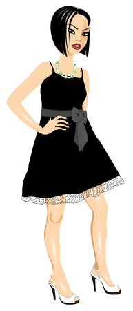 Vector Illustration of Asian woman with black Bow dress. Banque d'images - 104193619