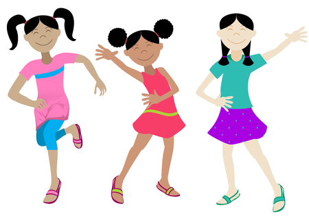 Vector Illustration of Happy Girls in various poses. Stock Illustratie
