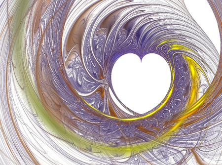 Abstract fractal computer generated image. White heart in purple curl Banco de Imagens