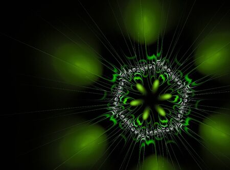 abstract fractal flower computer generated image. Green flower on black background