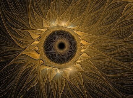 Abstract fractal flower computer generated image. Gold sunflower on black background Stock Photo
