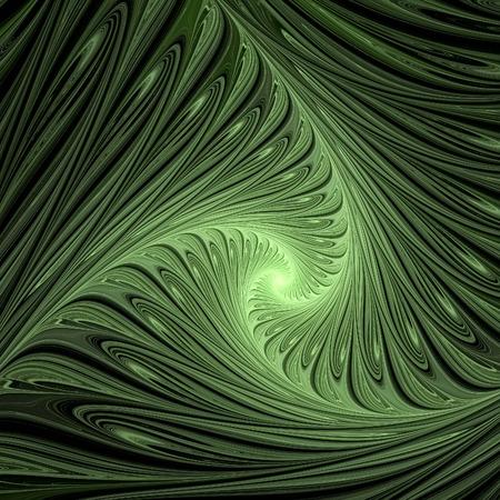 Green swirls. Abstract multicolored illustration on a dark background. Background design. Spiral, curl Banco de Imagens