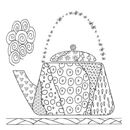 hand draw  teapot for adult antistress coloring book on white background. Zen art vector illustration.