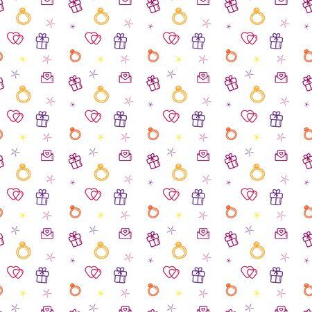 Wedding background seamless vector pattern. Love, romance flat line icons - hearts, engagement ring, gift, valentine card. Standard-Bild - 129110156