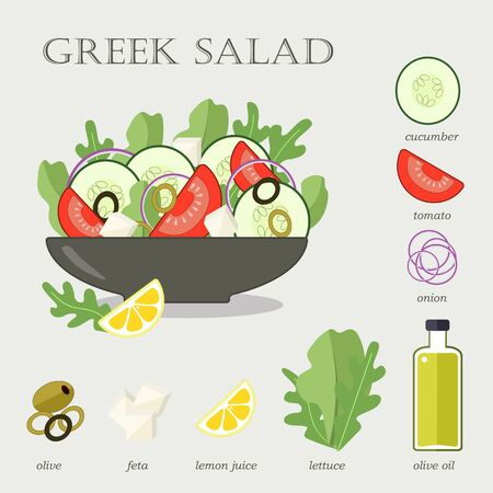 Greek salad recipe with ingredients. Flat vector illustration.