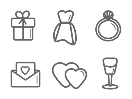 Wedding icon set on a white background. illustration. Event invitation, wedding dress and more for web design and mobile app.