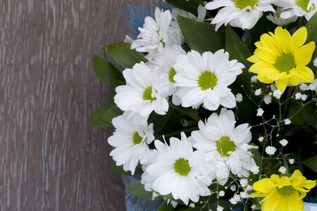 Bouquet of daisies close-up on a brown background. Flat lay banner. Top view. Banque d'images