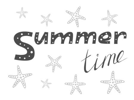Hand drawn black text Summer time with starfish. Summer holiday vector illustration on a white background Stockfoto - 149382919