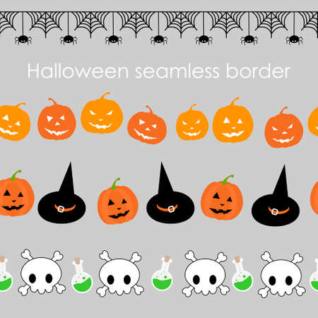 Halloween element in seamless border 矢量图像