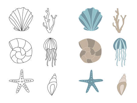 Set of underwater vector icons - seashell, jellyfish, starfish, coral. Hand drawn doodle marine characters. Stock vector illustration Ilustrace