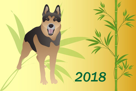 2018 year of the dog Chinese calendar. Illustration