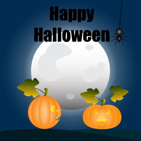 Happy Halloween. Pumpkins in the background of the moon talking. On the spider web hanging spider Illustration