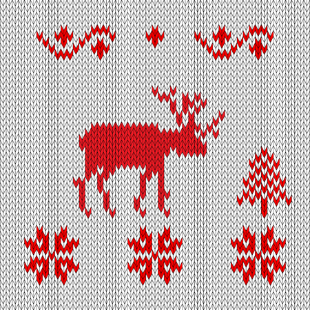 Knitted deer, red-white retro style. Winter forest snowflakes and spruce, pattern is knitted Illustration