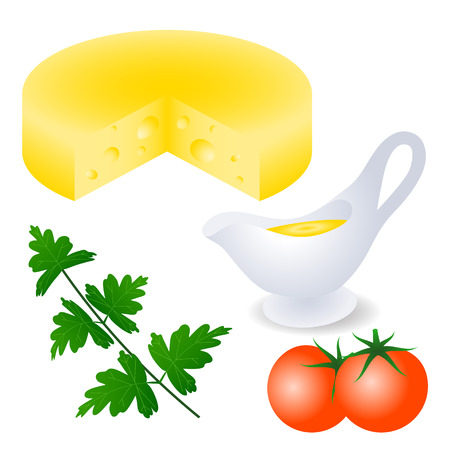 The head of cheese, a piece is cut. Gravy boat with sauce, fresh tomatoes and a sprig of parsley. Set for menu design, recipe. Healthy eating. Isolated