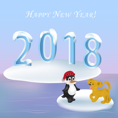 floe: 2018 Happy new year! Yellow puppy dog and penguin on an ice floe, iceberg in the distance. 2018 Ice figures are covered with snow caps. Greeting card Illustration