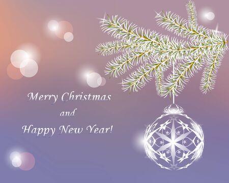 クリスマスの背景。クリスマスの木の枝とクリスマス ボールの霜。文字列にぶら下がっているボール。枝輝きの雪。ボケ味。はがきの背景