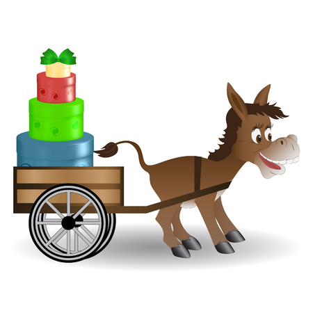 Funny donkey on a cart driven gifts. Colorful round boxes gifts. Isolated. Design greetings, birthday, Christmas, New year