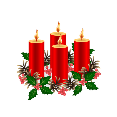 Christmas decorative composition. Four burning wax candles of red color. Decorated with a wreath of fir cones and a twig holly with berries. Isolated. White background