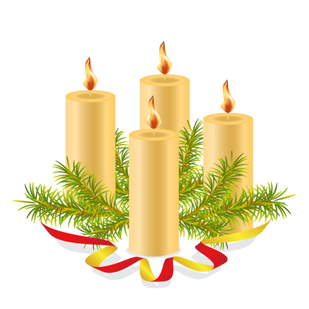 Four burning wax candles, decorated with a spruce branch and decorative red ribbon.