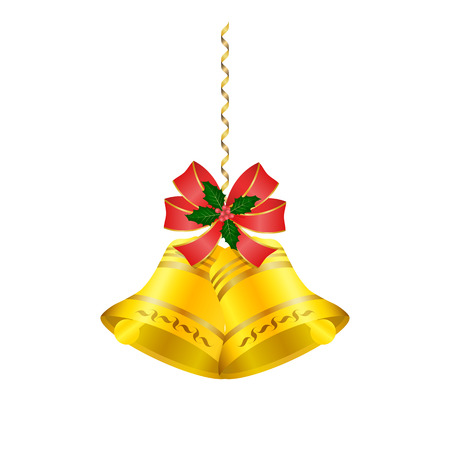 Christmas bells with a red bow and holly berry with leaves. Hanging on a decorative ribbon, tinsel. Bell with pattern. Element of decor, design of a holiday card. Isolated. White background