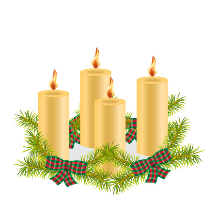 Four wax Christmas candles burning, decorated with fir tree branches, red and green plaid bow. Christmas composition of candles with fir wreath. The item festive design. Isolated. White background Иллюстрация