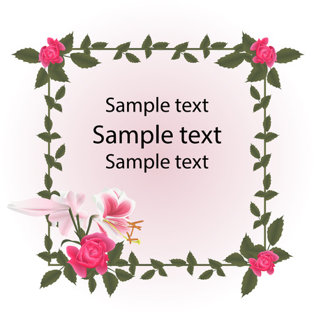 Vintage postcard frame. Red roses and lily flower are pink white. Frame of rose leaves. Free space Sample text. Invitation design, decor element. Isolated. White background