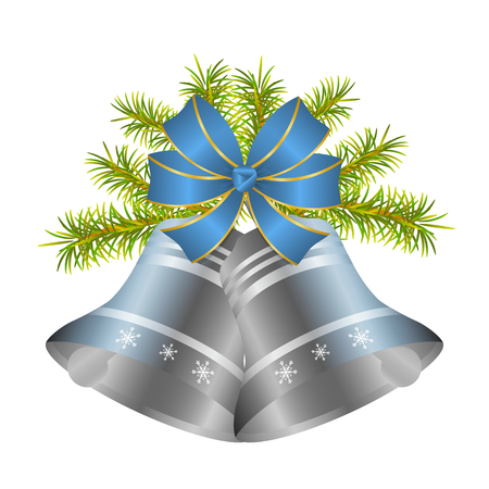 Silver Christmas bell and decorative blue bow with gold border. Hanging on a spruce branch. Isolated. White background. Element of design