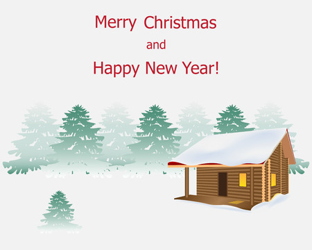 Wooden house on a background of a winter forest landscape. There is light in the window, snow on the roof. Trees are covered with snow, blizzard. Background for a postcard, Christmas flyer, New Year