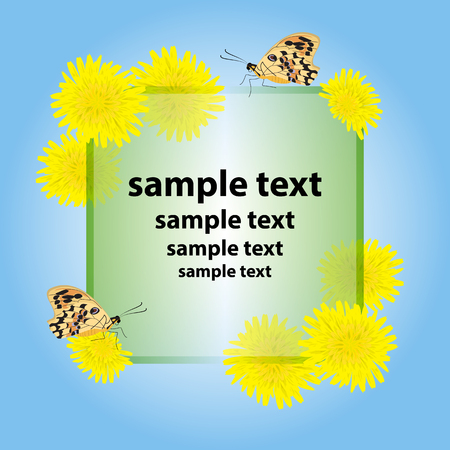 Greeting card,invitation with yellow flowers dandelions.Butterfly sitting on a flower. Center, green transparent square frame with empty place for your text, flowers in the corners.Blue background,sky