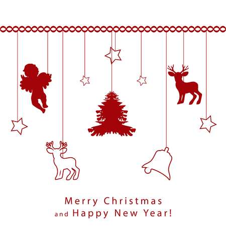 Merry Christmas and Happy New Year greeting card. Set with a small bell, the silhouette of an angel, a deer and a New Year tree, festive fur-trees and decorative toys are hung on a chain of tinsel 일러스트