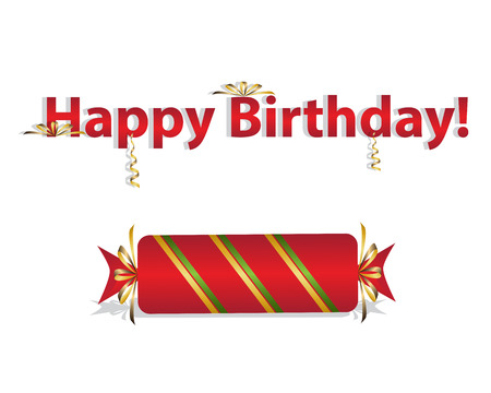 Happy Birthday with striped big candy for card design Vectores