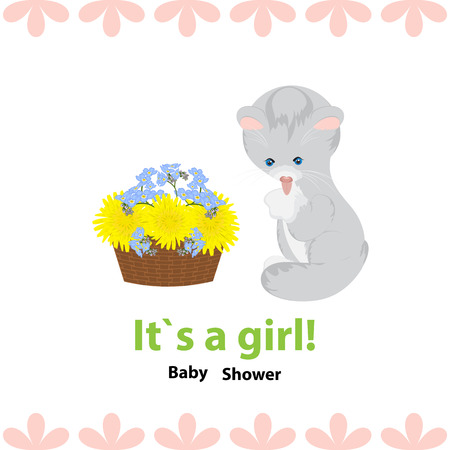 baby shower invitation with cute gray kitten and basket of flowers.Bouquet of blossoming dandelions and forget-me-not.The kitten sits and licks its paw. Frame of pink petals, white background.Isolated