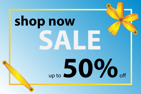 Template of the banner. Blue spring background, yellow ribbon stitched postcard, decorative bow at the top in the corner. Vector illustration. Seasonal sale, flyers, invitation, posters, voucher discount Illustration