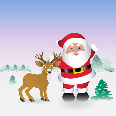 Santa Claus and deer congratulate with Christmas and a new year. Winter landscape with snow-covered trees. A cute deer stands next to Santa. Cold night. Template for postcards.