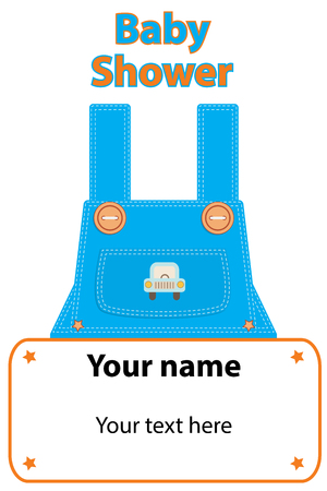Baby shower invitation. Childrens denim overalls with large buttons,auto and decorative frame with empty place for text.Clothing for boy.Greeting card its a boy.White background.Isolated