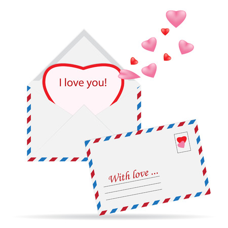 Vector simple envelope with red paper heart valentine card inside. Illustration of a mail stamp with the image of the heart on the envelope. For design on Valentines Day or wedding printing. Isolated