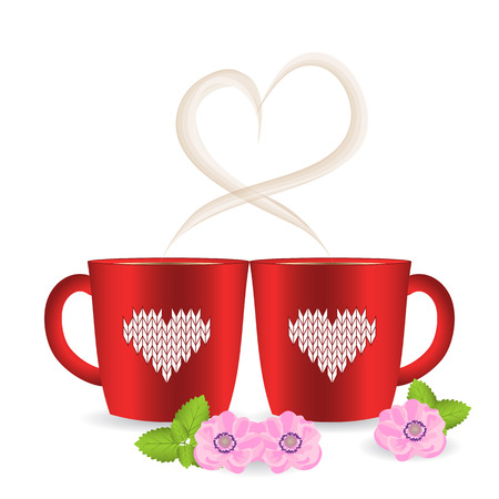 Two tea or coffee cups with heart shaped steam and knitted pattern on the mug cosy. Decor, mint and blooming blossom Anemone. Vector illustration isolated on white background. Valentines day, with love