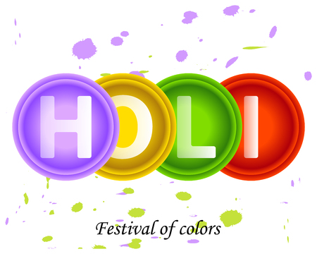Bright colorful abstract circles of paint with Holi text.Lilac,yellow,green, red design element.The spring Indian festival of colors.Purple and green spots, blobs of liquid paint on a white background