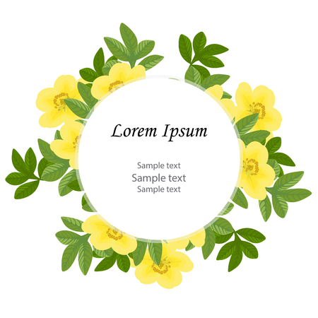 Wedding invitation,birthday.Floral design card: green leaves greenery decoration flowers yellow Potentilla fruticosa.Circle frame with space for text. Vector, isolated, white background.Rustic style