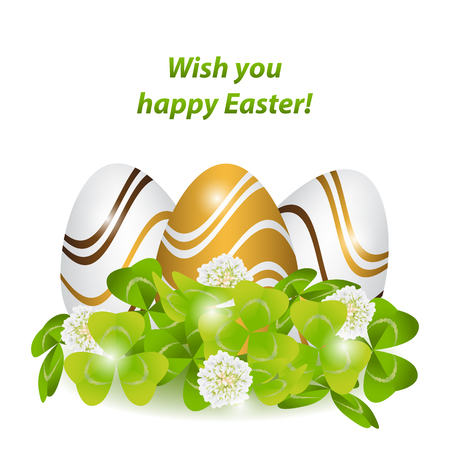 Happy Easter.Colorful, strips patterned eggs in the green grass,clover,shamrock and flowers. Space for text. Isolated.Template vector greeting card with realistic eggs.Spring holiday illustration