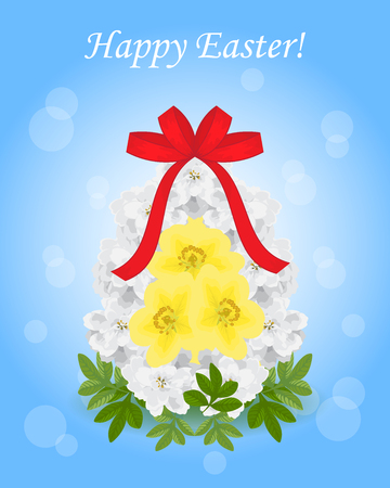 Easter.Egg, made from white flowers achillea Ptarmica, egg yolk yellow potentilla fruticosa.The bouquet is decorated with green leaves of foliage.On top of the ribbon bow. Isolated.Blue background,bokeh