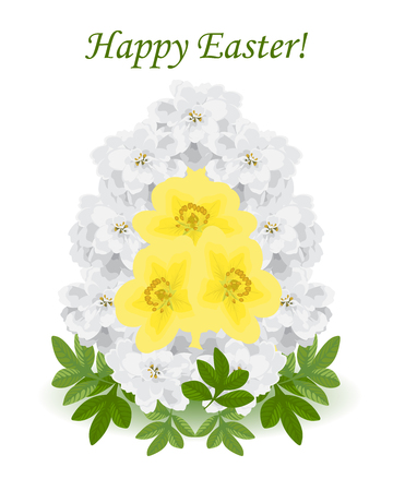 happy Easter.Festive egg is made of white flowers of achillea Ptarmica,egg yolk yellow potentilla fruticosa.The bouquet is decorated with green leaves of foliage.Isolated.White background.Spring