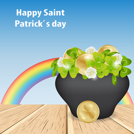 Spring background blue sky and magic rainbow. Happy Saint Patrick day, on the wooden table there is a pot with clover and gold coins,  Shamrock. Vector illustration.